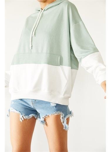 XHAN Mint & Beyaz Parçalı Sweatshirt 1Kxk8-44526-58 Yeşil